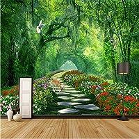 Weaeo ツリー公園緑の道路の3D風景の壁の壁のカスタム大きなフレスコ画の壁紙-120X100Cm