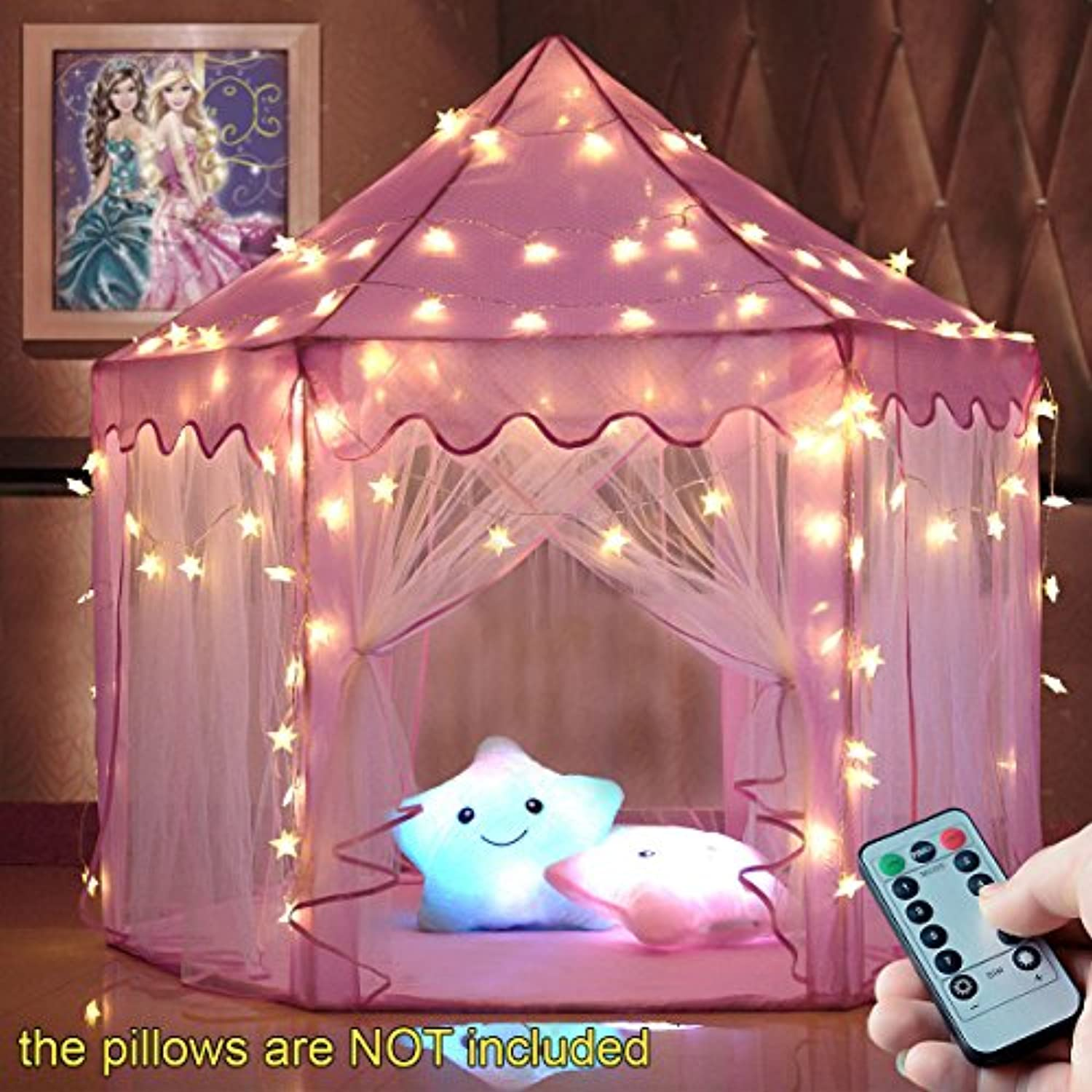 windpnn Kids Play Tent ,ピンクプリンセスCastle Play House , Large Light Up Playhouse W /リモートLED TwinkleスターLight、Top Toyギフトアイデアの男の子/女の子/幼児/赤ちゃん( 55「x54」