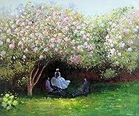 100%本革ハンドペイントResting Under the Lilacsアートワークキャンバス油彩画、ホーム壁の装飾、Not A印刷/ Giclee /ポスター、フレーム入り、ハングする準備