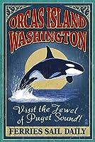 Orcas島、wa–Orca Whale Vintage Sign 12 x 18 Signed Art Print LANT-44604-708