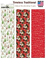 Premium Christmas Gift Wrap Timeless Traditional HEAVEY WEIGHT THICK Wrapping Paper for Men, Women, Boys, Girls, 3 Different 15 Ft X 40 in Rolls Included Xmas Trees, Reindeer, Santa, Christmas Wishes by Christmas Gift Wrap