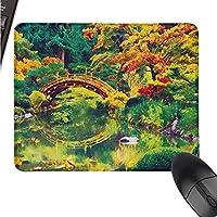 ZYcccTT カントリーロジテック ゲーミングマウス パッドサイズ 日本の庭の妖精の画像 古い古代の橋 湖の自然プリント W11xL27.5(インチ)