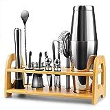 Bartender Kit, 13 Pcs Boston Cocktail Shaker Stainless Steel Bar Set with 18oz/28oz Shaker Tins,Measuring Jigger, Spoon, Pour