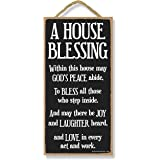 Honey Dew Gifts Inspirational Decor, A House Blessing 5 inch by 10 inch Hanging Sign, Wall Art, Decorative Wood Sign Home Dec