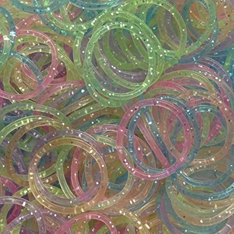 ETHAHE 600pcsカラフル ツイスト多彩な色ラテックスフリー織機リフィルきらきらなゴムバンドブレスレットS-クリップ25枚付カラフル