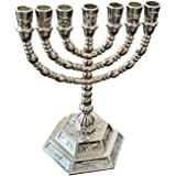 7 Branch Hexagonal Base 12 Tribes of Israel Hanukkah Menorah by Bethlehem Gifts TM (8 inch, Silver)