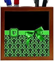 Rikki Knight Letter V Green Monogram Damask Bow Design 5-Inch Tile Wooden Tile Pen Holder (RK-PH41997) [並行輸入品]