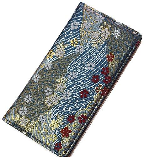 和柄 アイフォンケース 6 6s 7 8 Iphone case 手帳型 豪華 西陣織 (アイフォン 7 8 ケース, 青金らん)