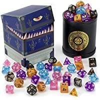 Cup of Wonder: 5 Sets of 7 Premium Glitter Polyhedral Role Playing Gaming Dice for Tabletop RPGs with Black Bicast