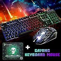 魁影KUIYING T6照光式キーボードマウスとマウスパッドセット システム対応 104キー 静電容量式キーボード 標準 人間工学 マルチメディア ゲーム ゲーミングキーボード バックライト 機械的な感触 (ワンサイズ, 黒)