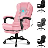 ALFORDSON Massage Executive Office Chair with Footrest PU Leather Home Computer Desk Swivel Chair (Pink)