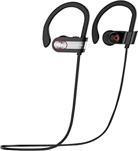 オーディオエキストラ Bluetooth 4.1 + EDRイヤホン、CSRチップ+ CVCノイズキャンセリング+ DSPノイズリダクション、ソフトイヤーフック 8時間音楽再生 IPX6 耐汗性 耐水性、AE-SBM9(黒、シルバーメッキ) AE-SBM9
