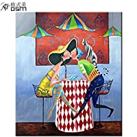 Osmアート手描きLovers Kiss Atコーヒーショップの油彩画キャンバス抽象図油彩画漫画画像アートのリビングルームアートワーク
