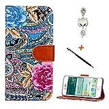 メンズ レザージャケット iPhone6/6s A9H アイフォン6/6s手帳型ケース 花柄 人気 女性 かわいい PUレザー 鮮やか おしゃれ 綺麗 独特 財布 マルチ タイプ フラワー 花 カバー スタンド 機能 軽量 スマホカバー ぎんぎつね防塵プラグ+ターチペン付き(ブルー)