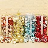 Menstime(メンズタイム)クリスマス オーナメント 北欧風 クリスマスツリーデコレーション 豪華50個セット 12種類集合 クリスマス ツリー 飾り クリスマスリース装飾 (レッド)