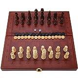 木製 折りたたみ式 チェス チェッカー 西洋 バックギャモン 卓上玩具 フェイク レザーボックス
