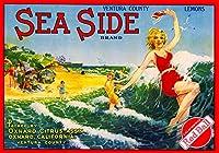 Oxnard、Ventura郡Sea Side Girl In The Oceanレモンシトラスフルーツクレートボックスラベルアートプリント