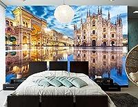 Yosot カスタム 3d の壁画、イタリアミラノのストリートハウスタウンスクエアシティの写真の壁紙、リビングルームのソファテレビウォールベッドルームレストラン壁紙-200cmx140cm