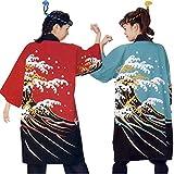 【よさこい衣装・祭り・法被】 よさこい 長袢天 波 赤 C53230