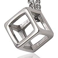 【Ludus Felix】ネックレス メンズ キュービック 立方体 サージカル ステンレス ジュエリーボックス付き ペン…