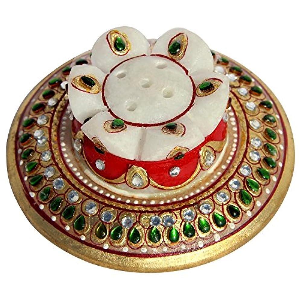夫永続チーターHandicrafts Paradise Handicrafts Paradise Kundan Embellished大理石Incense Holder