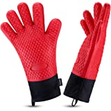 Oven Gloves, Heat Resistant Cooking Gloves Silicone Grilling Gloves Long Waterproof BBQ Kitchen Oven Mitts with Inner Cotton