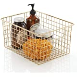 mDesign Metal Bathroom Storage Organizer Basket Bin - Farmhouse Decor, Grid Design - Organization for Cabinets, Shelves, Clos