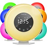 hOmeLabs Sunrise Alarm Clock - Digital LED Clock with 6 Color Switch and FM Radio for Bedrooms - Multiple Nature Sounds Sunse
