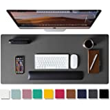 "Leather Desk Pad Protector, Office Desk Mat, 31.5"" x 15.7"" Non-Slip PU Leather Desk Blotter, Laptop Desk Mouse Mat, Waterproo"
