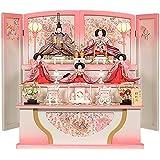 雛人形 三段 五人飾り 三人官女付 ひな人形 落とし屏風 ピンク No.304-73