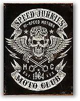 スピード・ジャンキーズ★SPEED JUNKIES MOTOR CLUB・スカルのトレードマーク★レトロ調★アメリカンブリキ看板