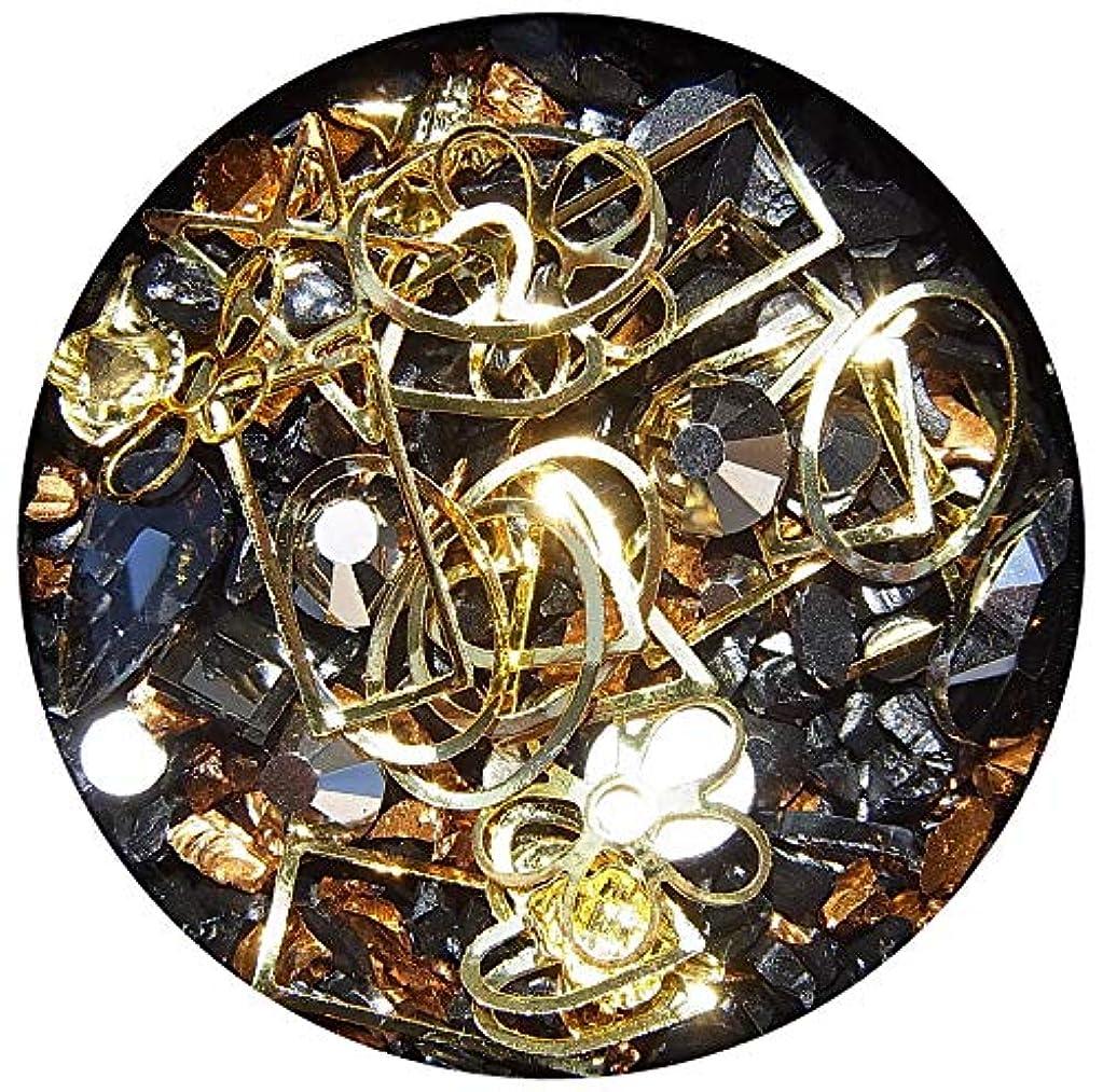 マインド輝度正当化する【jewel】メタルパーツ ミックス ラインストーン カーブ付きフレーム ゴールド ネイルアートパーツ レジン (2)