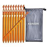 Kungix テントペグ軽量ジュラルミン製10本収納袋付きアウトドア用品 キャンプ用品ペグ (ゴールド)