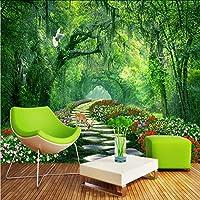 Lcymt 空間延長パーソナリティ壁壁画壁紙Hdの緑の森牧歌的な道3Dステレオ壁紙リビングルーム-200X140Cm