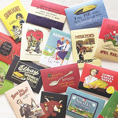 レトロな絵柄のシール ステッカー 48-52枚セット 手紙やギフトに (レトロポスター風)