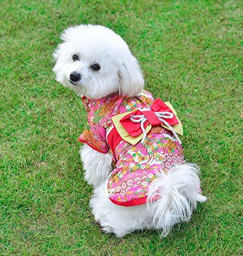 Awesomes 犬服 秋 冬 防寒コート 着物 和服 優雅 かわいい お正月 お祭り 結婚式 パーティー (L)