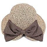 ファートーク(FURTALK) 麦わら帽子 親子 女優帽 つば広 紫外線対策 リボン付き 小顔効果 レディース UVカット 折りたたみ
