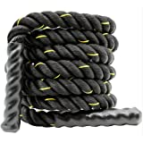 Battle Rope, 25/38/50MM, 9/12/15M Length Exercise Undulation Ropes-Gym Muscle Toning Metabolic Workout Fitness Strength Exerc