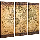 Decor MI Vintage World Map Canvas Wall Art Prints Stretched Framed Ready to Hang Artwork Wall Decor for Living Room Office De