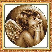 LovetheFamily クロスステッチキット DIY 手作り刺繍キット 正確な図柄印刷クロスステッチ 家庭刺繍装飾品 11CT ( インチ当たり11個の小さな格子)中程度の格子 刺しゅうキット フレームがない - 44×44 cm かわいい小さな天使