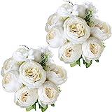 Nubry Artificial Peony Silk Flowers Bouquet for Wedding Home Garden Decoration White*2