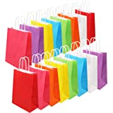 Tomnk 32pcs Paper Bags, 8 Colors Party Favor Bags,Colored Kraft Candy Bags with Handle for Birthday, Gift, Wedding and Party