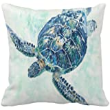 Asminifor Turtle Pillow Cover Ocean Park Decor Sea Coastal Theme Decorative Pillow Covers Super Soft Square Pillowcase Cushio
