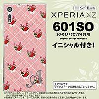 601SO スマホケース Xperia XZ ケース エクスペリア XZ イニシャル 花柄・バラ(K) ピンク nk-601so-266ini G
