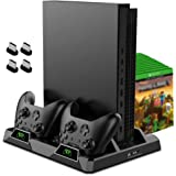 OIVO Cooling Stand for Xbox One/S/X, 2 Cooling Fan, Dual Controller Charging Dock Station with LED Indicators and 15 Game Slo