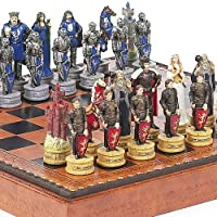 King Arthur the Legend of Camelot Chessmen & Marcello Chess Board From Italy by
