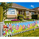 Large Happy Easter Sign Banner, Rustic Easter Celebration Decorations, Easter Spring Sign Banner Hanging Decoration, Easter Party Decoration Backdrop Photo Props, Indoor Outdoor (9.8 x 1.6 feet)