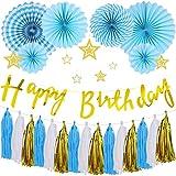 誕生日 飾り付け バースデー デコレーション ペーパーファン セット HAPPY BIRTHDAY ブルー ペーパーファン パーティー お祝い 装飾 J031B