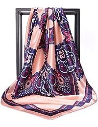 女性の女性のための90X90cmスクエアスカーフサテンシルクスカーフレディーススカーフショールヒジャーブスカーフ