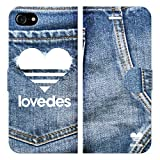 iPhone7用 手帳型ケースカバー LOVEDES デニム柄 T
